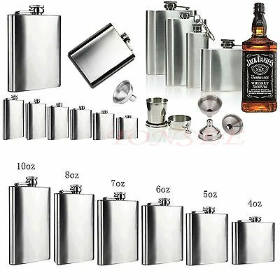Stainless Steel Screw Cap 2-18 OZ Hip Flask Liquor Whiskey Alcohol Bottle Funnel