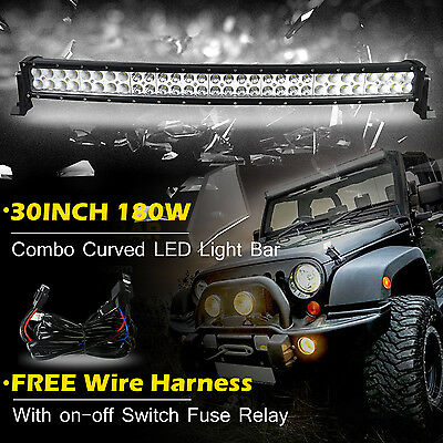30inch Curved 180W Led Work Light Bar Combo Flood Spot Truck Offroad Jeep 32/34
