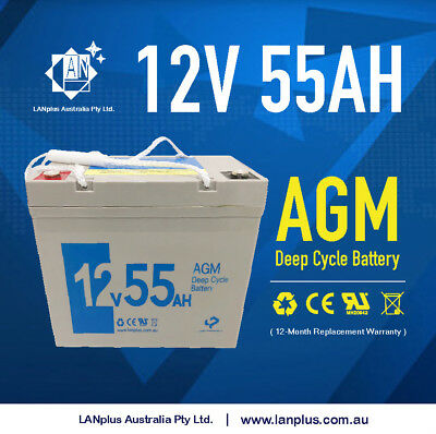 12V 55AH DEEP CYCLE AGM BATTERY 6FM55 Mobility Scooter Wheelchair UPS Golf Buggy