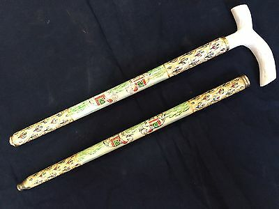 a hand crafted camelone cane walking stick foldable hand painted traditional art