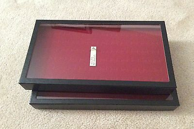 "1 - Box (of 2) 8 x 14-1/2 x 1-3/4"" Display Cases for Rings (""Riker"" type)"