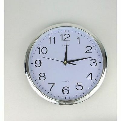 30cm Silent Round Wall Mountable Quartz Analogue Clock - Silver