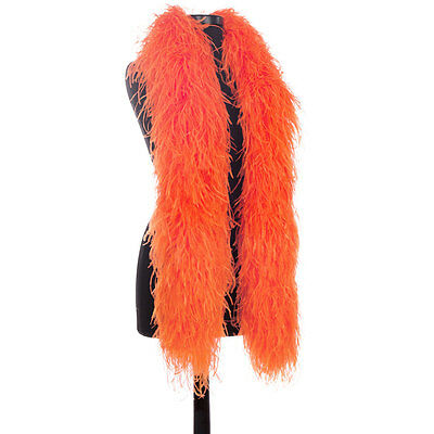 Orange 8 Ply Ultra Ostrich Feather Boas - Scarf - 6 Feet Long - Halloween