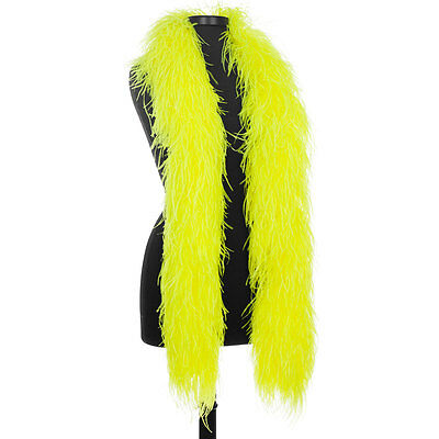 Hot Yellow 8 Ply Ultra Ostrich Feather Boas - Scarf - 6 Feet Long - Halloween