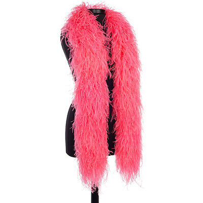 Fluorescent Pink 8 Ply Ultra Ostrich Feather Boas - Scarf - 6 Feet Long Costume