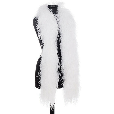 White 8 Ply Ultra Ostrich Feather Boas - Scarf - 6 Feet Long - Halloween Costume