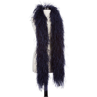 Navy Blue 6 Ply Ultra Ostrich Feather Boas - Scarf - 6 Feet Long - Halloween