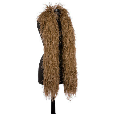 Golden Brown 6 Ply Ultra Ostrich Feather Boas - Scarf - 6 Feet Long - Halloween
