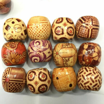 100pcs 10mm Assorted Mixed Pattern Wooden Round Bead Loose Spacer Charm Bracelet