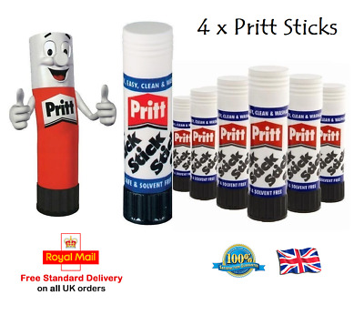 4 x PRITT STICK Glue Washable Non Stick Home School Toxic Free Office Craft