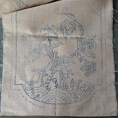"Vintage Transfer Printed "" Animal Flowers ""Linen Table Runner Cloth To Embroider"