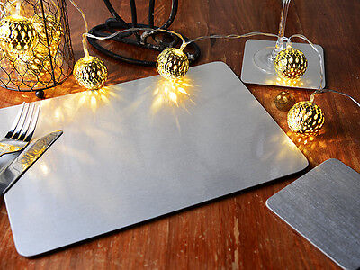 Set of 6 CHRISTMAS SILVER FOIL Cork-Backed PLACEMATS & 6 COASTERS (12 Piece Set)