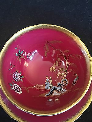 Paragon red chinoiserie garden scene tea cup and saucer