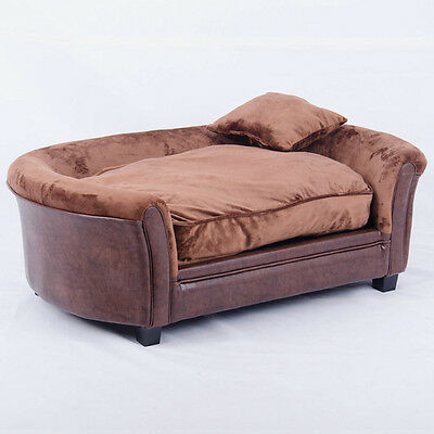 Luxury Faux Leather Professor Cat and Dog Pet Bed - Brown