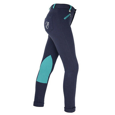Hyperformance Belton Children's Jodhpurs Navy/ Teal - Kids Jodhpurs, FREE P & P