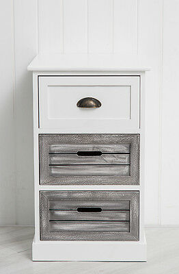 Three Drawer Bedside Table With Contrasting Drawers Bedroom Unit Storage Drawer