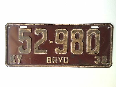 Kentucky 1932 Vintage License Plate Garage Old Car Tag Auto Boyd Cty Man Cave