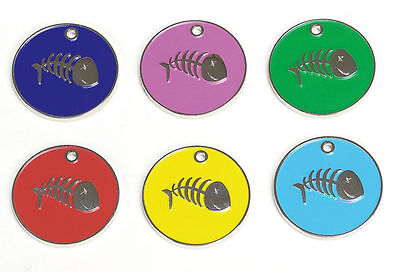 Engraved Pet Cat Kitten Identity Disc, Id Disc, Id Tag, Fish Design Personalised • EUR 3,26
