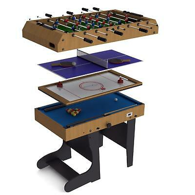 Riley 4 in 1 Game Table Foldable 12 Games Air Hockey Foosball Pool