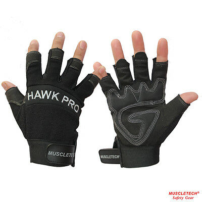 Black Finger Less Leather Mechanic Gloves Safety Work Gloves Rigger Gloves