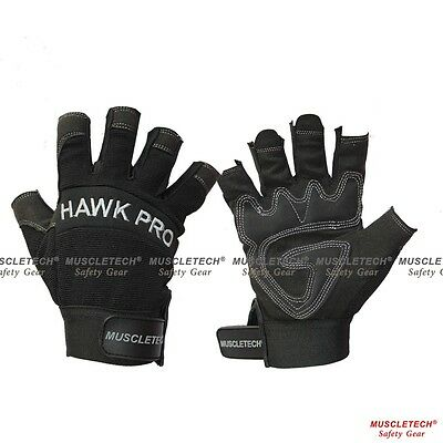New Black Finger Less Leather Mechanic Gloves Safety Work Gloves Rigger Gloves