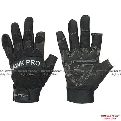 New Semi Finger Less Leather Mechanic Gloves Safety Work Gloves Rigger Gloves