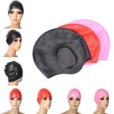 Ear Protection Silicone Swimming Cap Waterproof Long Hair Swim Hat Adult