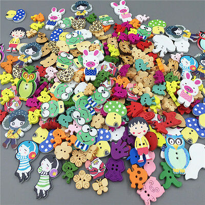 100pcs Mixed Cartoon Animal Girl Wooden Sewing Buttons Decoration 15-40mm