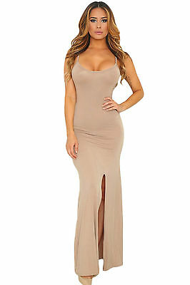 Abito aperto Nudo aderente Scollo Cerimonia Party Spacco Cutout Maxi Dress M