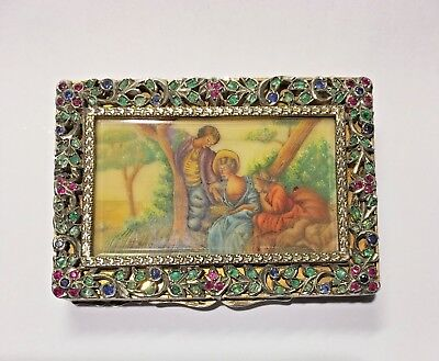One of a Kind Antique/Vintage Style Italian Rococo Jeweled Powder Compact