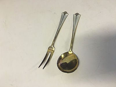 Vtg David Andersen Norway Sterling Silver Gilt Wash Enamel Pickle Fork & Spoon