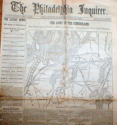 1863 Civil War newspaper w large detailed MAP of CHATTANOOOGA Tennessee region
