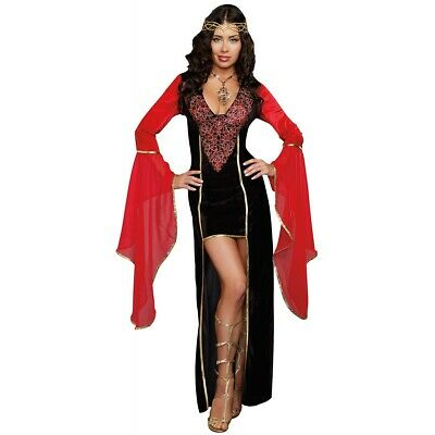 Medieval Madien Costume Adult Arwen Elf Princess Halloween Fancy Dress