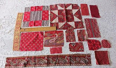 14 Antique 19thC Pieces Of Printed Turkey Red Cotton Fabric~Quilters,Design