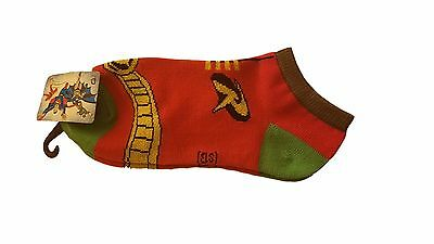 DC Comics Batman Series Robin Suit Pattern Ankle Socks