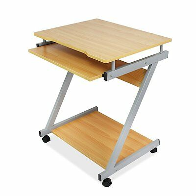 Compact Computer Desk Z-Shaped with Keyboard Shelf Trolley PC Laptop Table