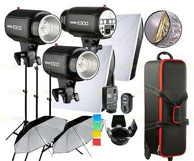 New Godox E300 900W Studio Strobe Light Kit Photography Lighting