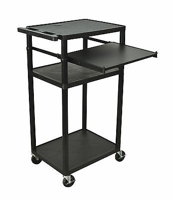 Offex LP Table with Front Shelf and Electric Black