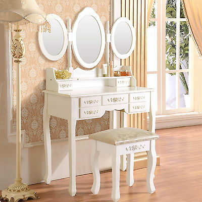 New Shabby Chic Dressing Table Vanity Makeup W/ 7 Drawers, 3 Mirrors and Stool