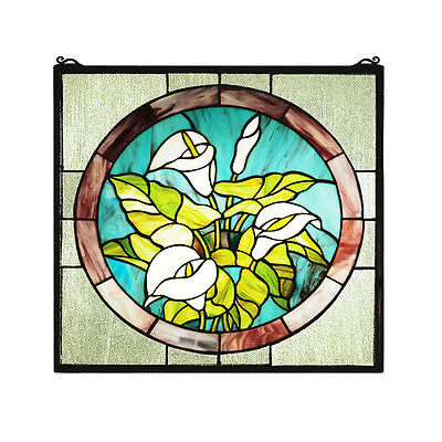 """Meyda Home Indoor Bedroom Decorative 20""""Wx20""""H Calla Lily Stained Glass Window"""