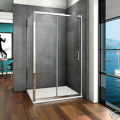 Aica Sliding Shower Enclosure Door and Tray Walk In 6mmm Glass Screen Cubicle