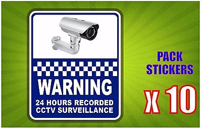 Warning 24 Hours Recorded CCTV Pack of (10) Sticker 200x240mm OFFER