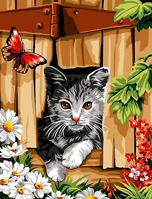 Margot de Paris Tapestry/Needlepoint Canvas - Cat and Butterfly