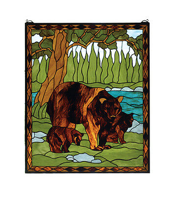 "Hand Crafted Designed Art Panel 25""W X 30""H Brown Bear Stained Glass Window"