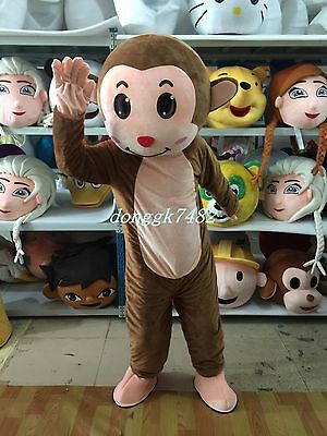 New Cute monkey Mascot Costume Halloween Cosplay Party Dress Outfit Adult