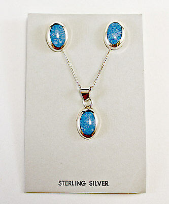 NEW! Beautiful Sterling Silver 925 Blue Turquoise Earrings Necklace Pendant Set