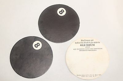 Vintage Lot of 3 8ball Old Drum Brand Whiskey Advertisement Cards
