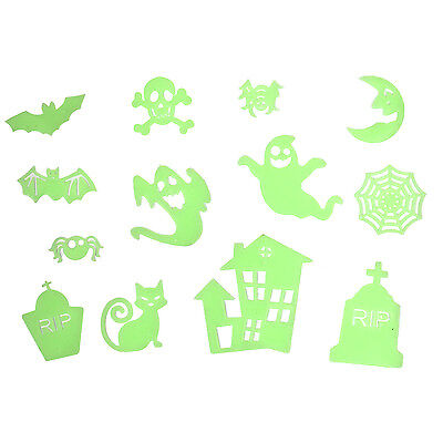 Spooky Glow In The Dark Adhesive Decorations For Halloween - Graveyard / Ghost