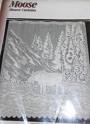 White Lace Moose Shower Curtain 72 x 72