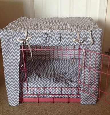 Made To Measure Dog / Puppy Crate Cover / Zigzag Fabric / 14 Colours